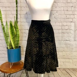 NWOT Marc Jacobs Black Velvet Polka Dot Skirt